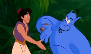 Disney's Aladdin and Genie shaking hands