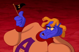 Genie cheering for Jafar in Aladdin