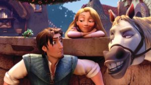 Disney's Tangled - Horse and Rapunzel smirking at the prince