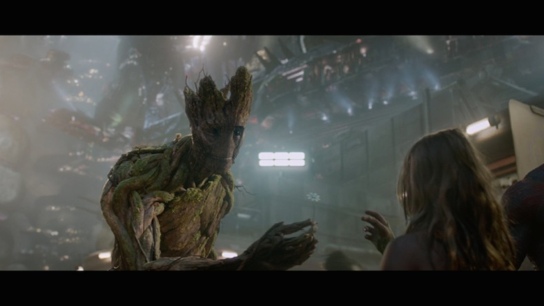 Groot giving a girl a flower