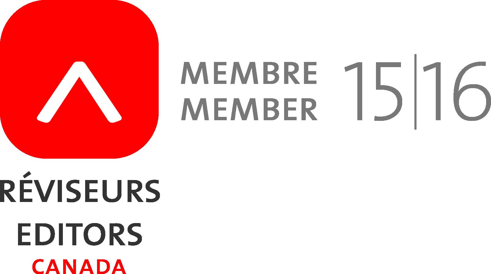 Member of Editors Canada 2015-2016